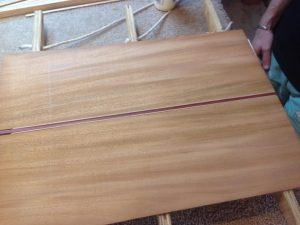 Mahogany back, blood wood and curly maple stripes for custom acoustic guitar back.
