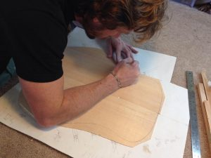 Laying out the braces for the spruce top.