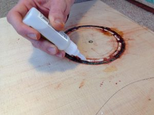 Filling the center with blood wood dust and glue.