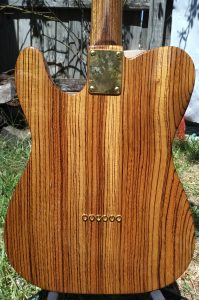 Solid zebrawood body telecaster.